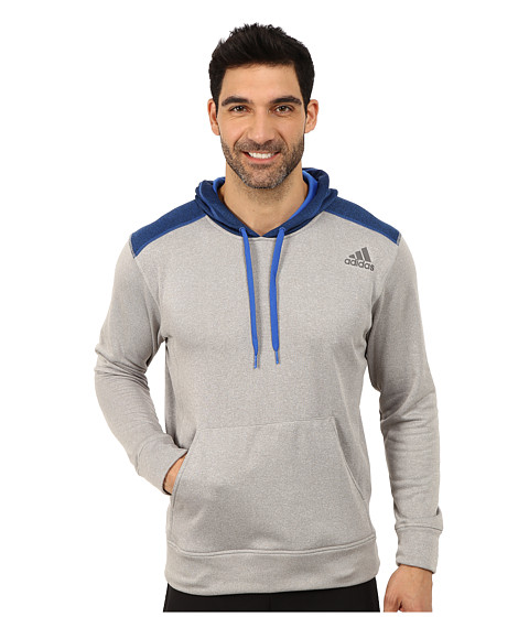 adidas - Ultimate Fleece Pullover Hoodie (Medium Grey Heather/Blue Overdye) Men