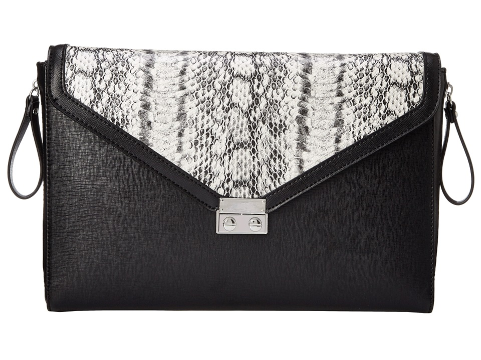 BCBGeneration - The Sorry I'm Late Clutch (Black Combo) Clutch Handbags
