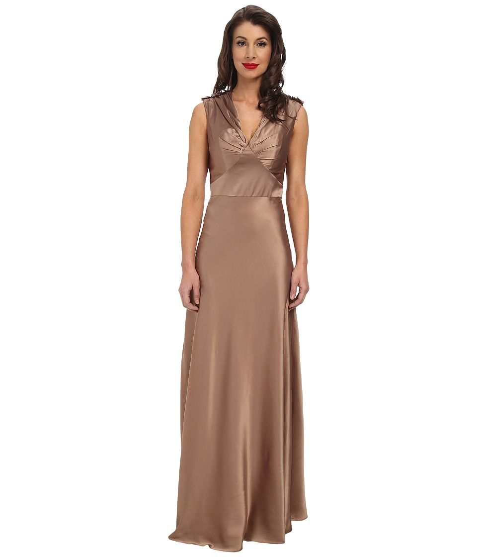 Unique Vintage - 1940's Satin Harlow Dress (Gold) Women's Dress