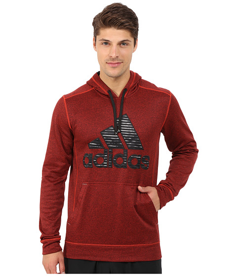 adidas - Ultimate Fleece Pullover Hoodie-Illuminated Screen (Vivid Red/MGH Solid Grey/Black) Men