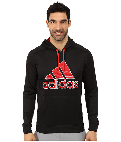 adidas - Ultimate Fleece Pullover Hoodie-Illuminated Screen (Black/Clear Onix/Vivid Red) Men's Sweatshirt