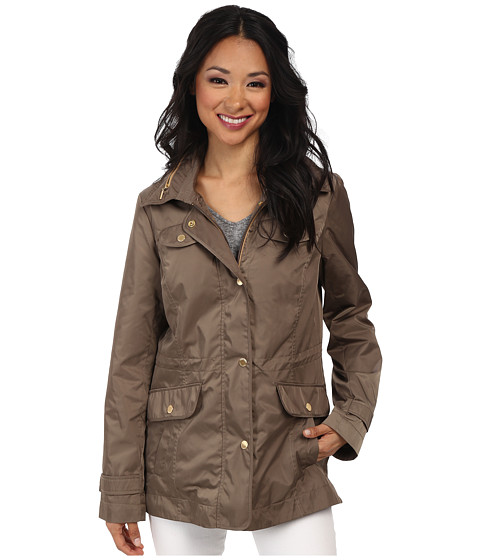 Ellen Tracy - Snap Front Short Anorak w/ Faux Leather Trim (Basil) Women's Coat