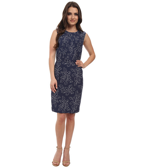 Pendleton - Petite Janis Dress (Indigo Leaf Print) Women