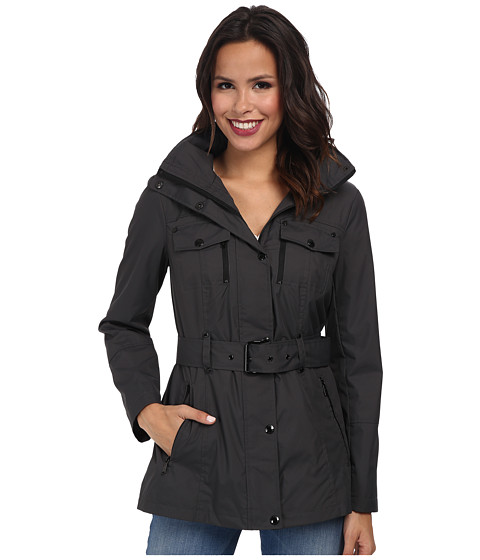 MICHAEL Michael Kors - Belted Coat (Dark Grey) Women's Coat
