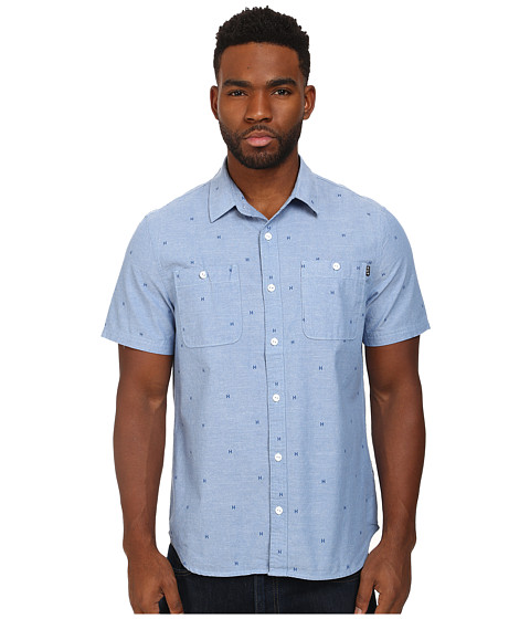 HUF - Payday Chambray Short Sleeve Shirt (Blue) Men