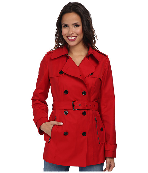 MICHAEL Michael Kors - Short Cotton Coat (Red) Women's Coat