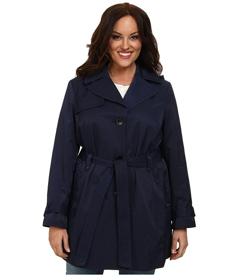 Ellen Tracy - Plus Size Belted Trench (Navy) Women's Coat