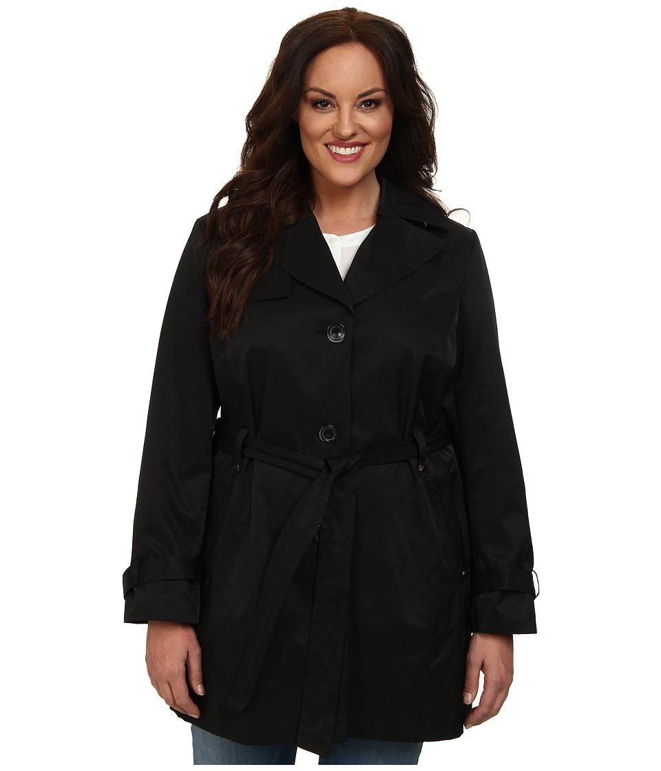 Ellen Tracy - Plus Size Belted Trench (Black) Women's Coat