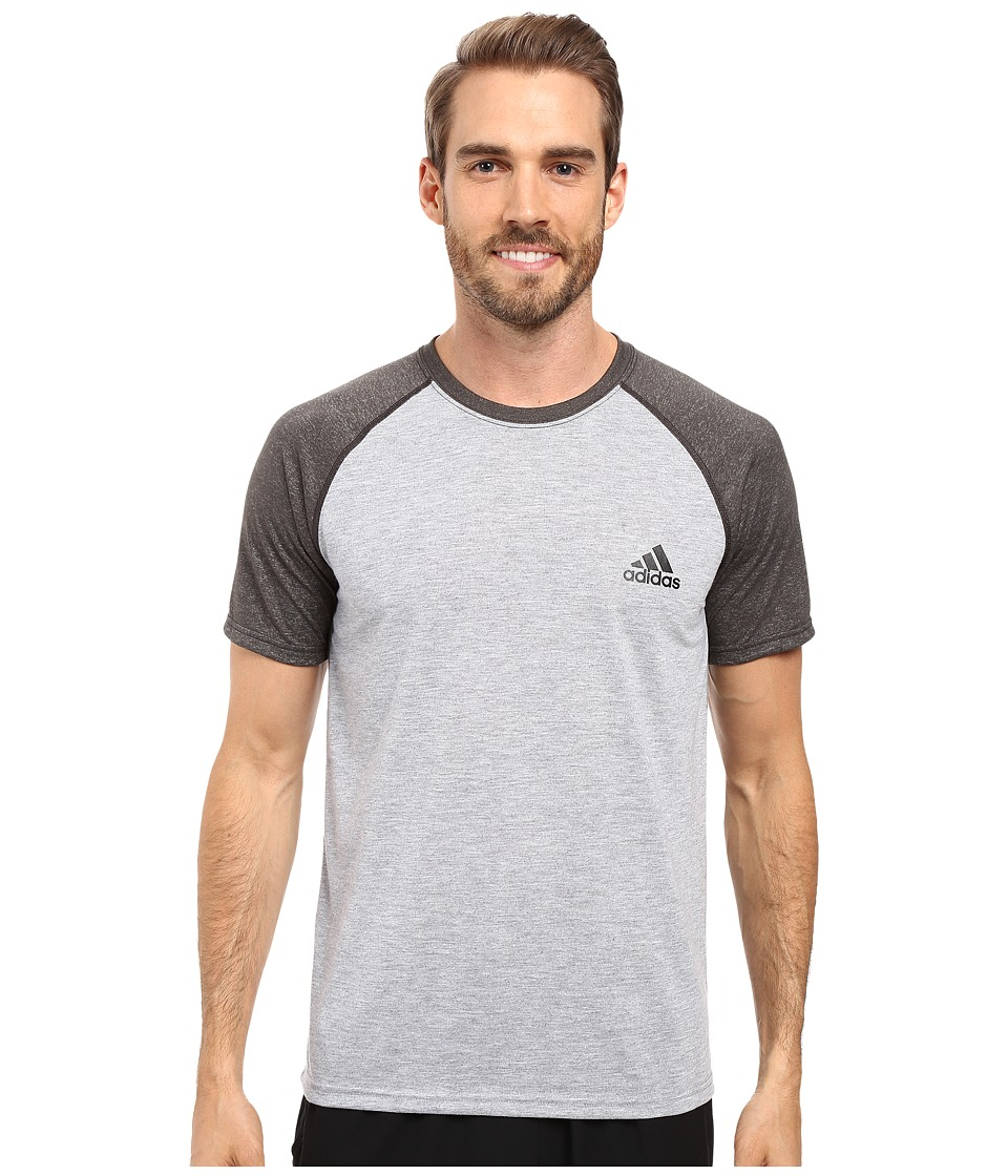 adidas - Ultimate S/S Crew Tee (Medium Grey Heather/Dark Grey Heather/Black) Men's T Shirt