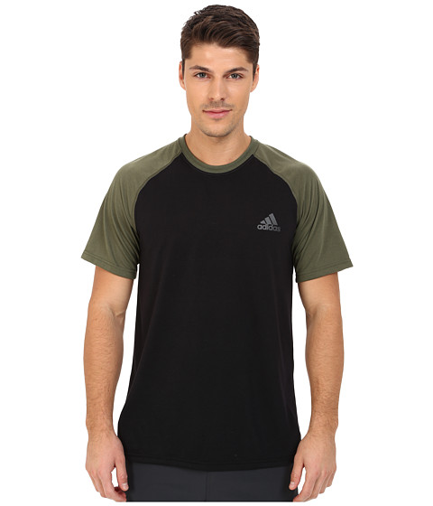 adidas - Ultimate S/S Crew Tee (Black/Base Green/DGH Solid Grey) Men