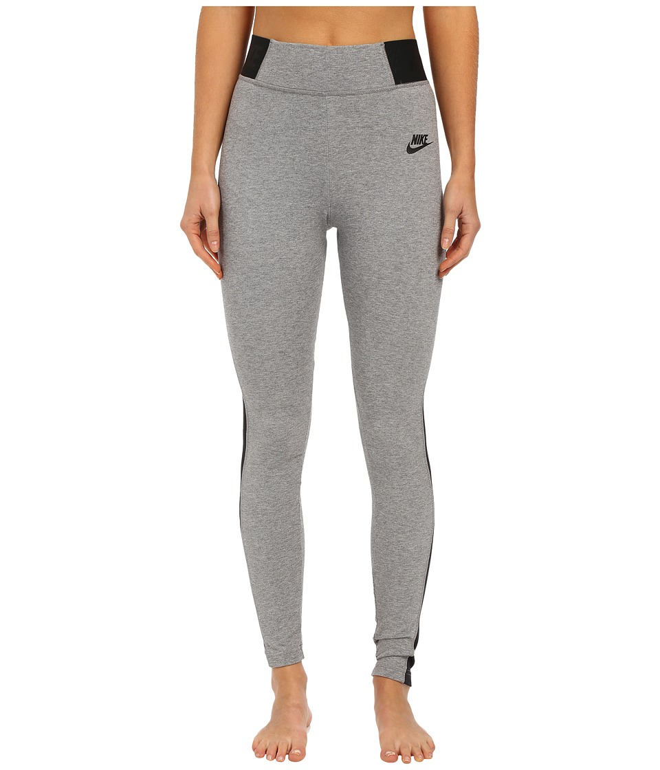 Nike - Leggings Heather T2 (Carbon Heather/Black/Black) Women's Casual Pants