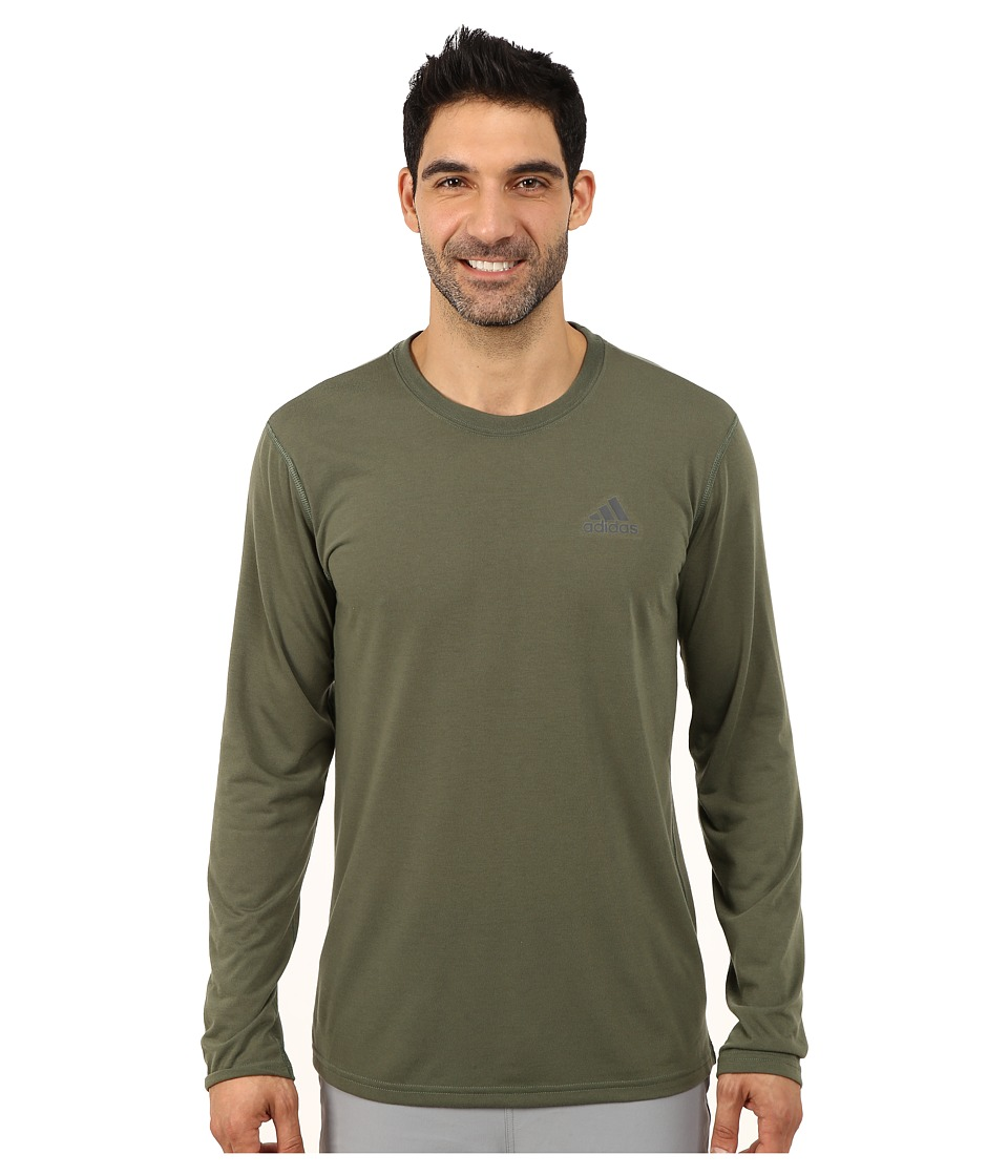 adidas - Ultimate Long Sleeve Crew Tee (Base Green/DGH Solid Grey) Men's Workout