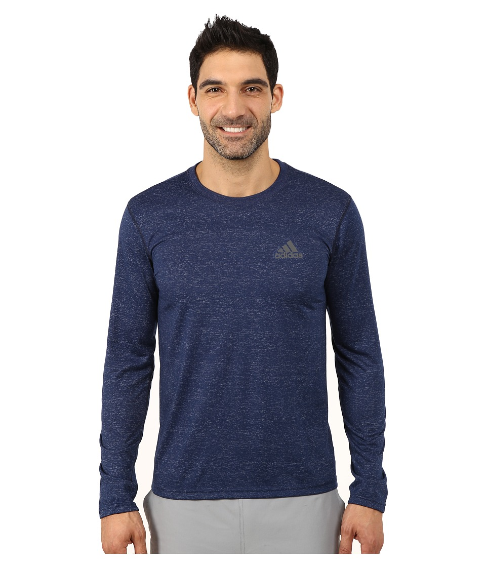 adidas - Ultimate Long Sleeve Crew Tee (Collegiate Navy Heather/DGH Solid Grey) Men's Workout