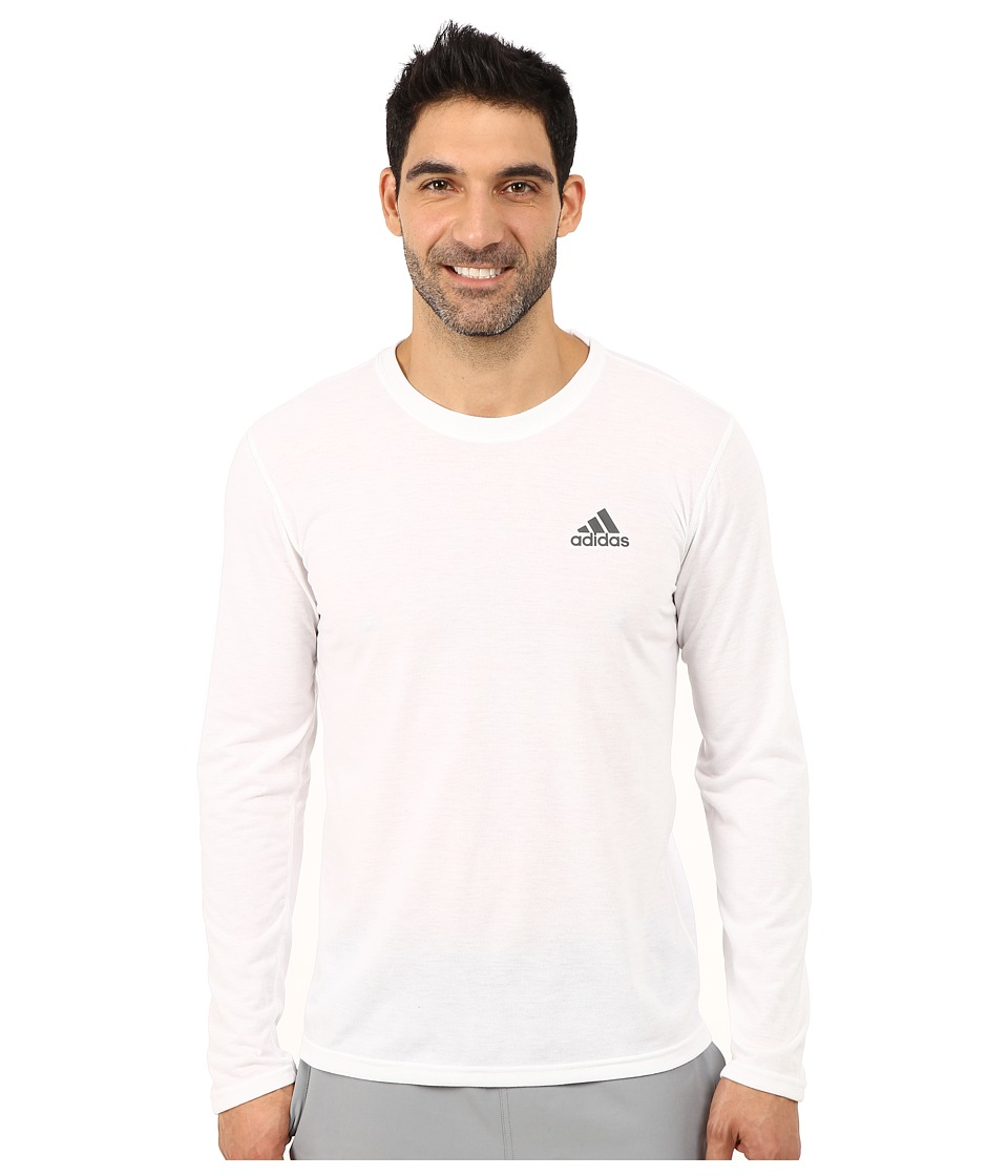 adidas - Ultimate Long Sleeve Crew Tee (White/DGH Solid Grey) Men's Workout