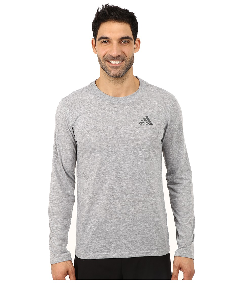 adidas - Ultimate Long Sleeve Crew Tee (Medium Grey Heather/DGH Solid Grey) Men's Workout