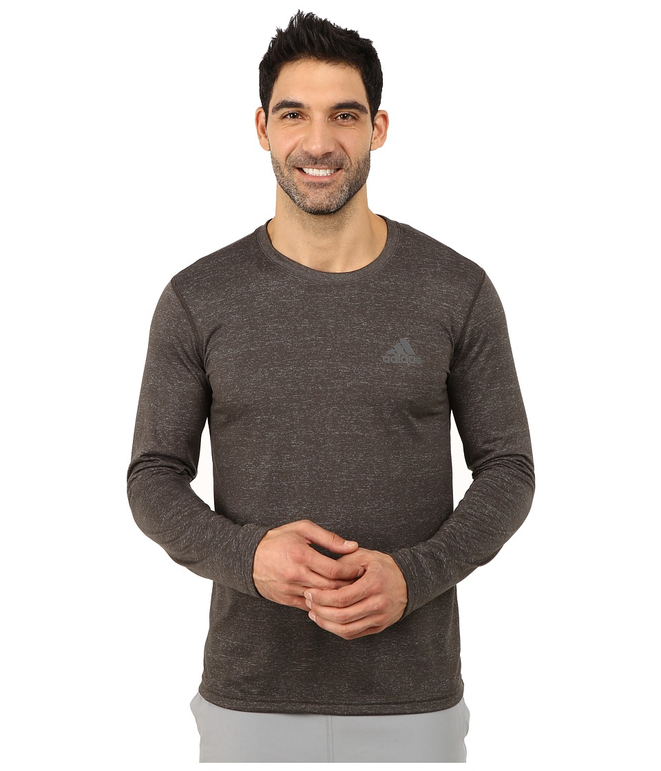 adidas - Ultimate Long Sleeve Crew Tee (Dark Grey Heather/DGH Solid Grey) Men's Workout