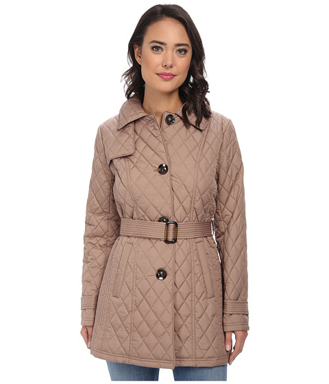Ellen Tracy - Button Front Quilted Trench (Cappuccino) Women's Coat