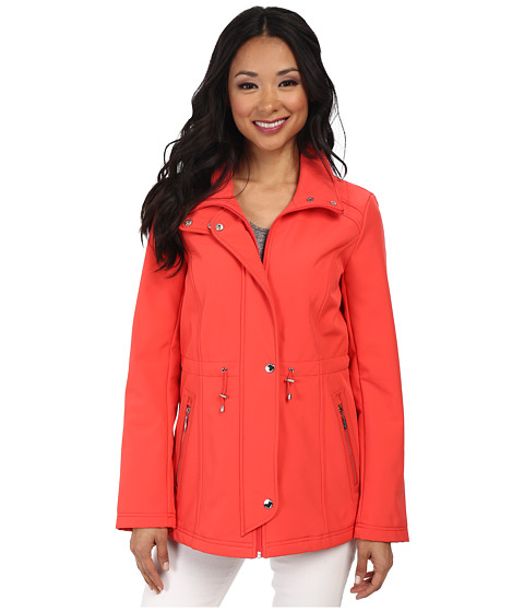 Ellen Tracy - Snap Front Anorak Soft Shell w/ Stand Collar (Coral) Women's Coat