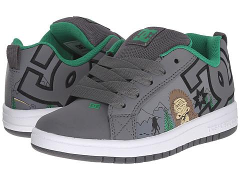 DC Kids - Court Graffik SE (Big Kid) (Grey/Grey/Green) Boys Shoes