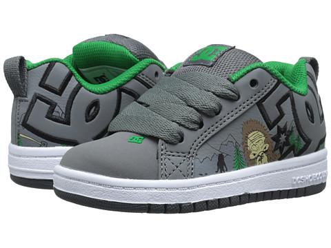 DC Kids - Court Graffik SE (Little Kid) (Grey/Grey/Green) Boys Shoes