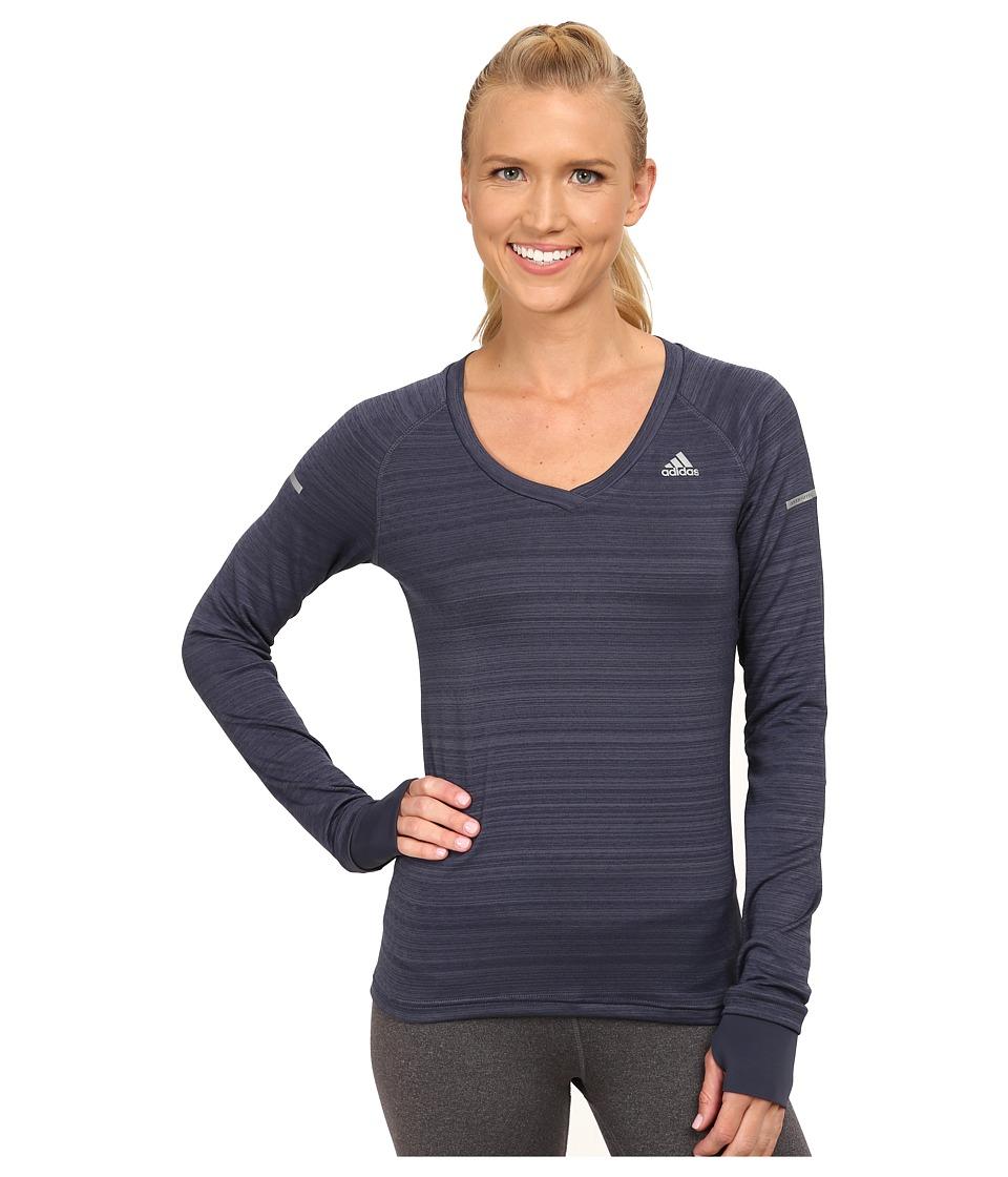 adidas - Sequencials Heathered Long Sleeve Tee (Midnight Grey) Women's Workout