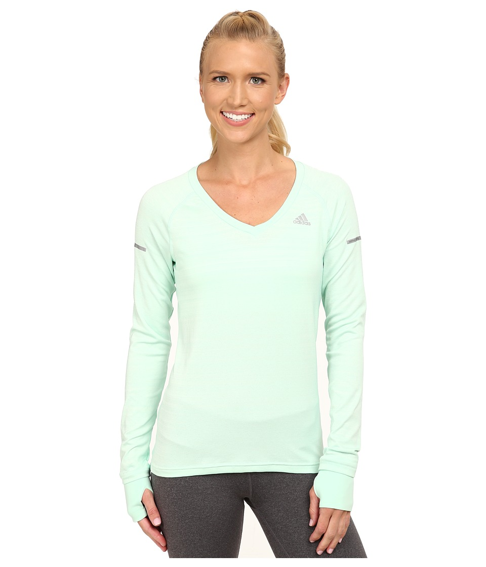 adidas - Sequencials Heathered Long Sleeve Tee (Frozen Green) Women's Workout