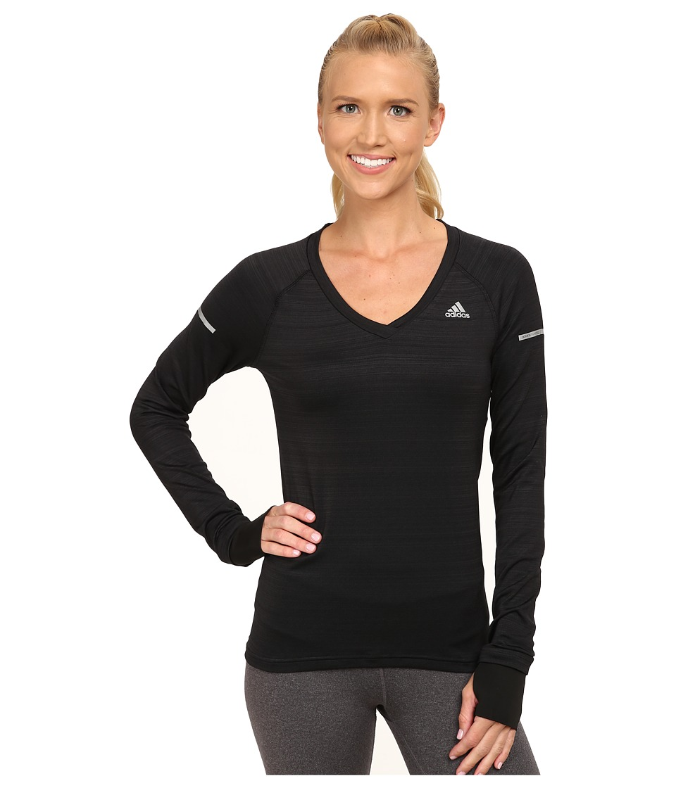 adidas - Sequencials Heathered Long Sleeve Tee (Black) Women's Workout