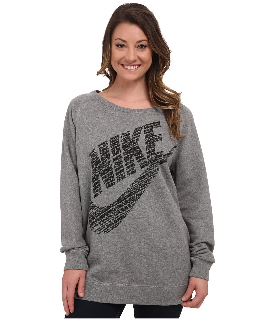Nike - Rally BF Logo Crew (Carbon Heather/Black) Women