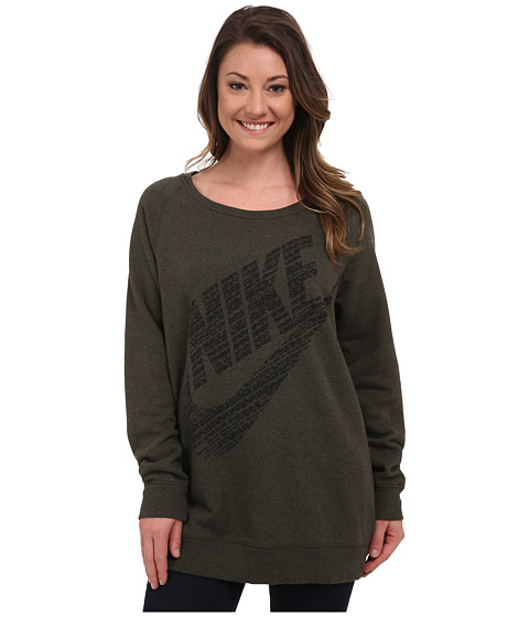 Nike - Rally BF Logo Crew (Dark Army Heather/Black) Women