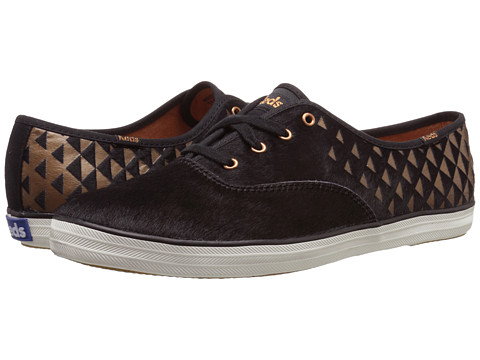 Keds - Champion Metallic Faux Pony (Black/Copper Printed Pony) Women's Lace up casual Shoes
