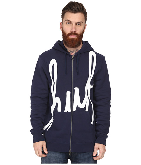 HUF - Big Script Full Zip Hoodie (Navy) Men