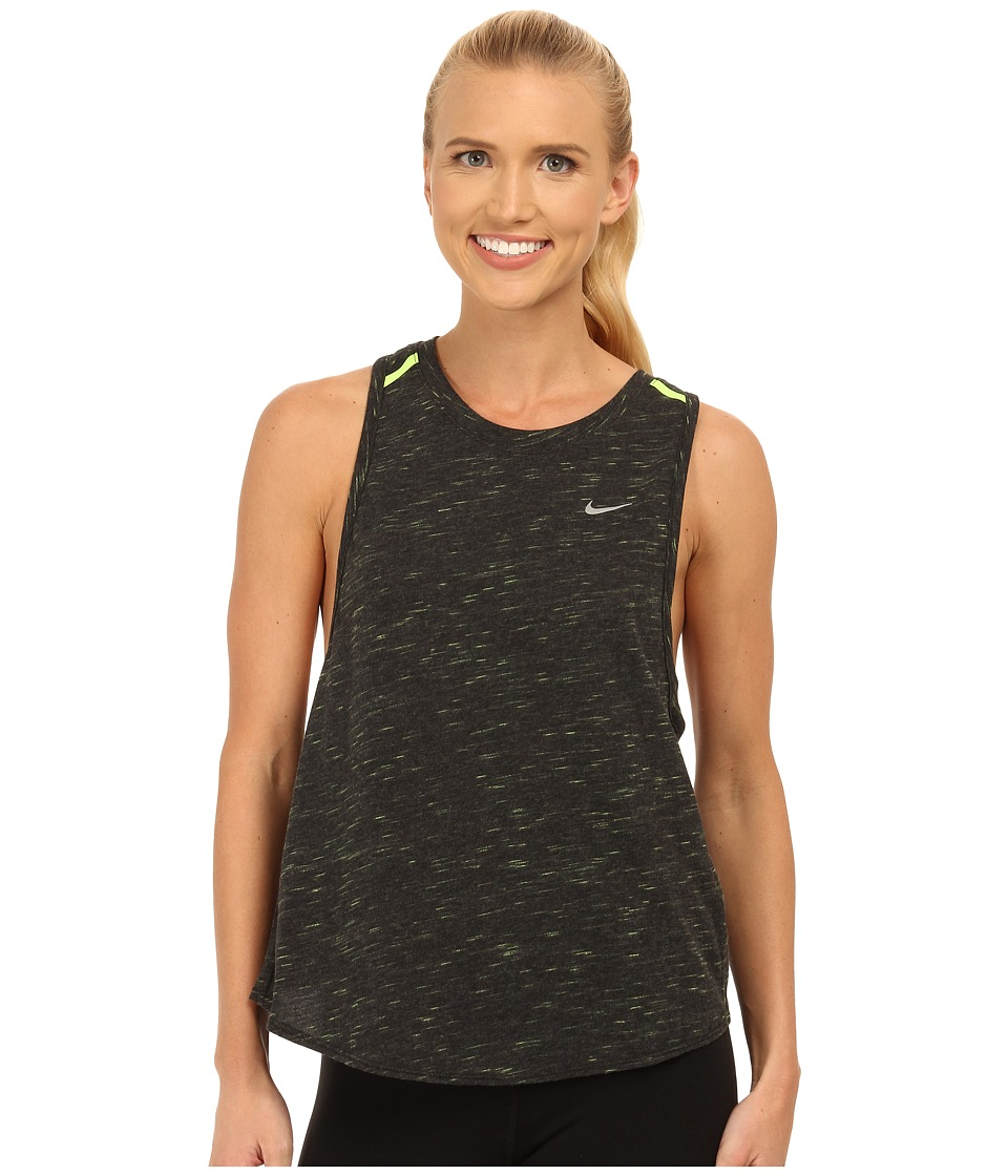 Nike - Dri-FIT Tailwind Neon Slub Tank Top (Black/Heather/Volt/Reflective Silver) Women's Sleeveless