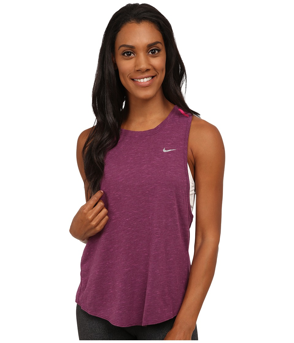 Nike - Dri-FIT Tailwind Neon Slub Tank Top (Mulberry/Heather/Vivid Pink/Reflective Silver) Women's Sleeveless