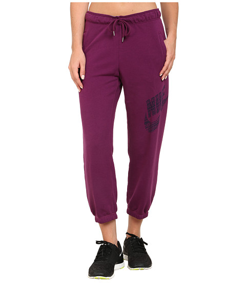 Nike - Rally Logo Capri (Mulberry/Mulberry/Midnight Navy) Women