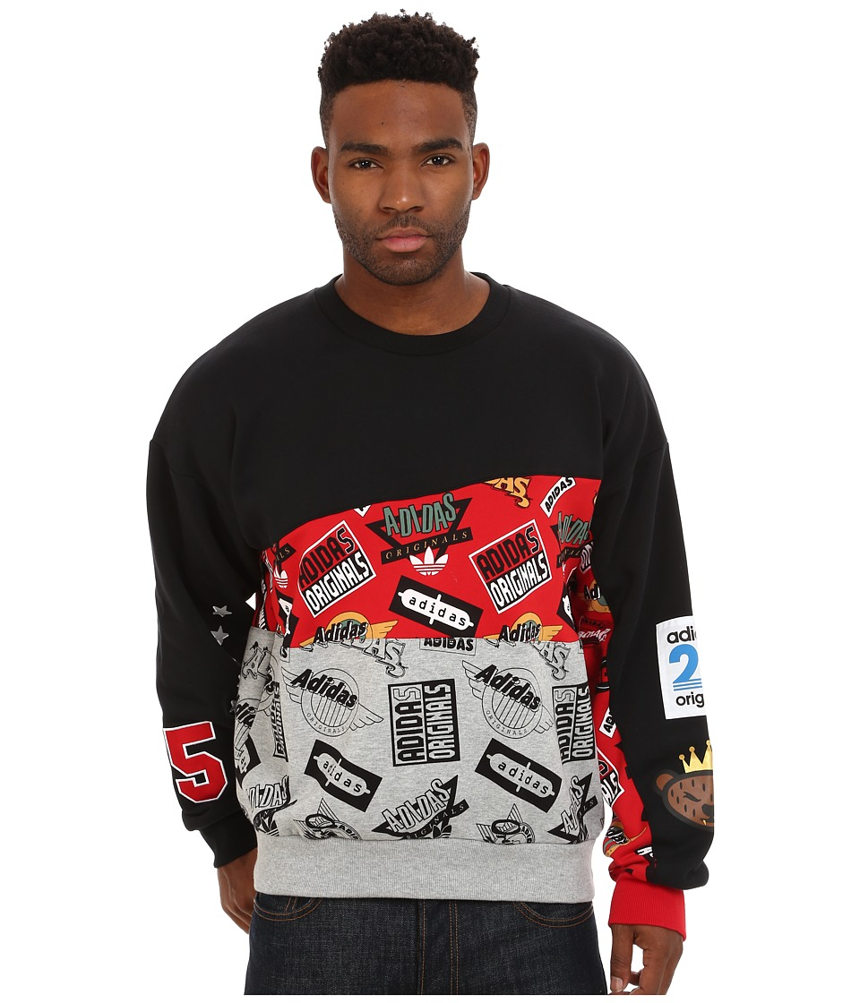 adidas Originals - Jams Blocked Crew (Black/Scarlet/Medium Grey Heather) Men