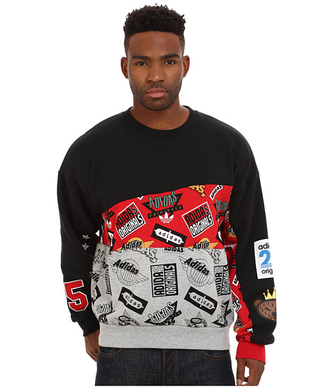 adidas Originals - Jams Blocked Crew (Black/Scarlet/Medium Grey Heather) Men's Sweatshirt