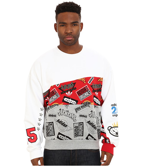 adidas Originals - Jams Blocked Crew (White/Scarlet/Medium Grey Heather) Men's Sweatshirt