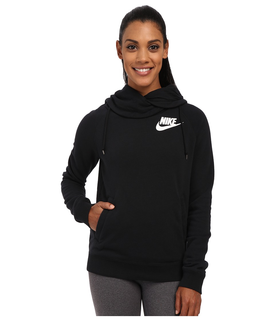 Nike - Rally Funnel Neck Hoodie (Black/Black/Summit White) Women's Sweatshirt