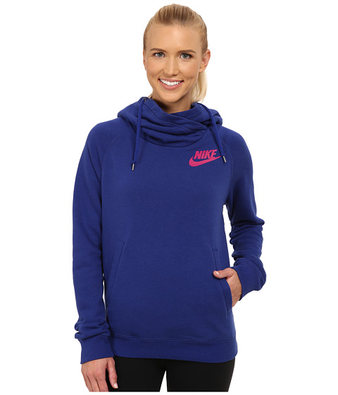 Nike - Rally Funnel Neck Hoodie (Deep Royal Blue/Deep Royal Blue/Sport Fuchsia) Women's Sweatshirt