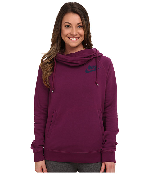 Nike - Rally Funnel Neck Hoodie (Mulberry/Mulberry/Midnight Navy) Women