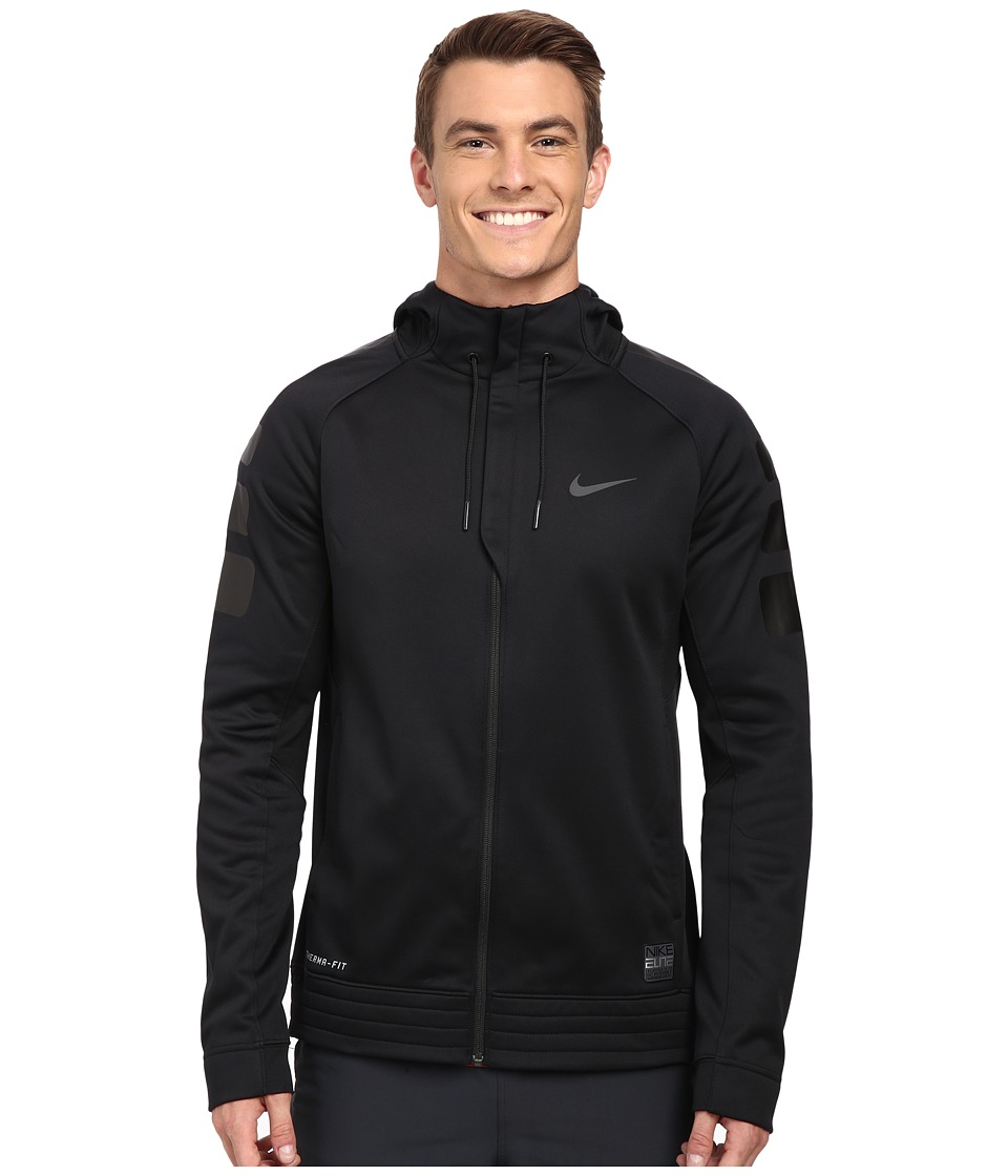 Nike - Elite Stripe Hoodie (Black/Black/Anthracite/Anthracite) Men's Sweatshirt