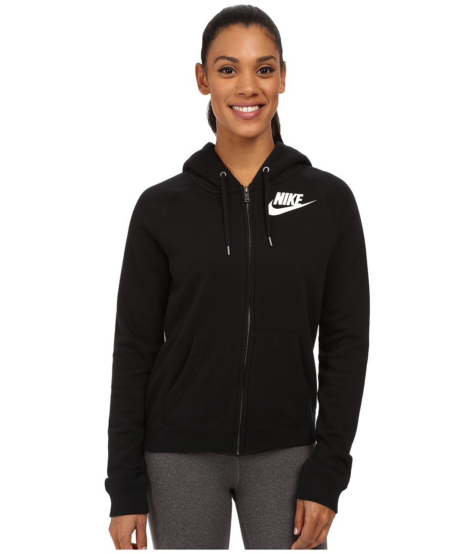 Nike - Rally Full-Zip Hoodie (Black/Black/Summit White) Women's Sweatshirt