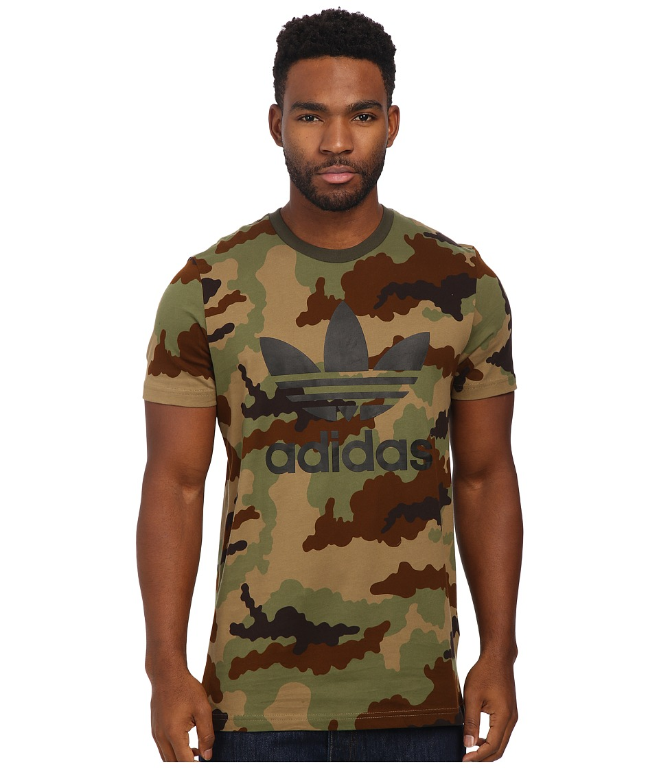 adidas Originals - Originals Trefoil Tee (Hemp Camo Print/Black) Men