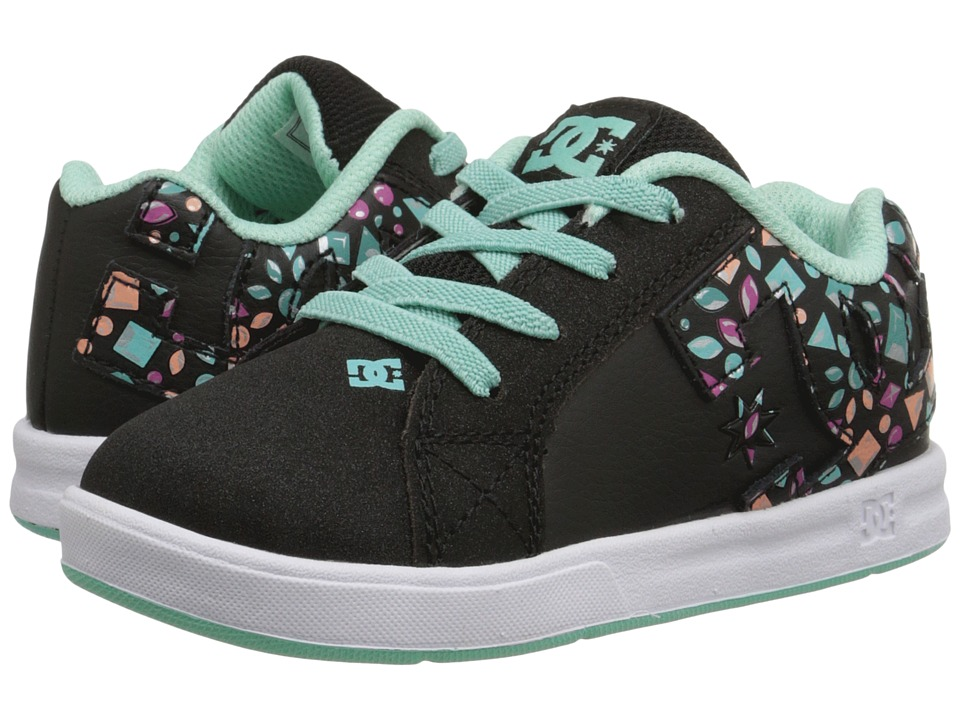 DC Kids - Court Graffik Elastic UL (Toddler) (Black/Ice Blue) Girls Shoes