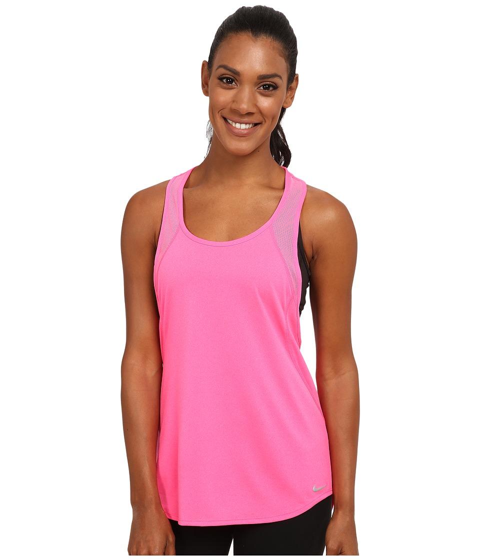 Nike - Dri-FIT Crew Tank Top (Pink Pow/Black/Reflective Silver) Women's Sleeveless