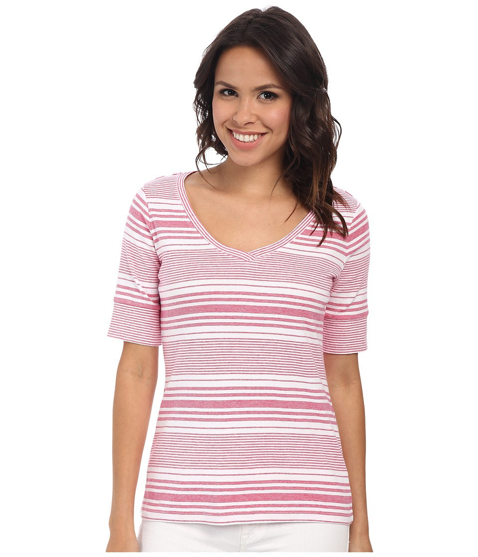 Pendleton - Stripe V-Neck Rib Tee (White/Cherry Pink Stripe) Women's T Shirt