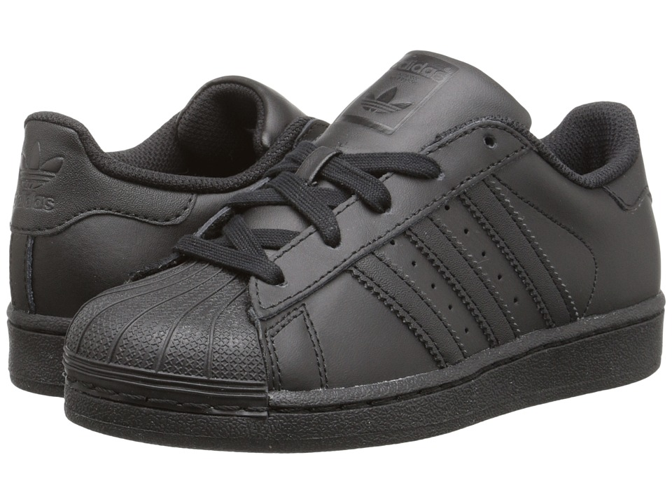 adidas Originals Kids - Superstar Foundation (Little Kid) (Black/Black/Black) Kids Shoes