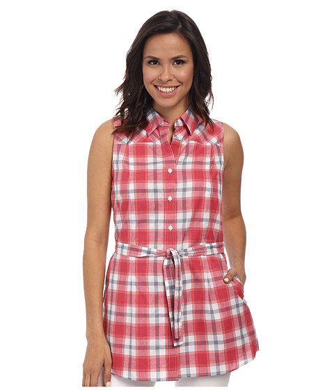 Pendleton - Belted Sleeveless Shirt (Cherry Pink Plaid) Women's Sleeveless