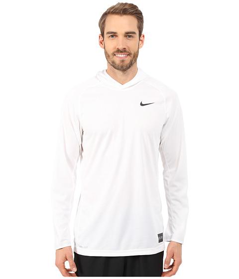 Nike - Elite Hooded Shooter Shirt (White/White/Black/Black) Men