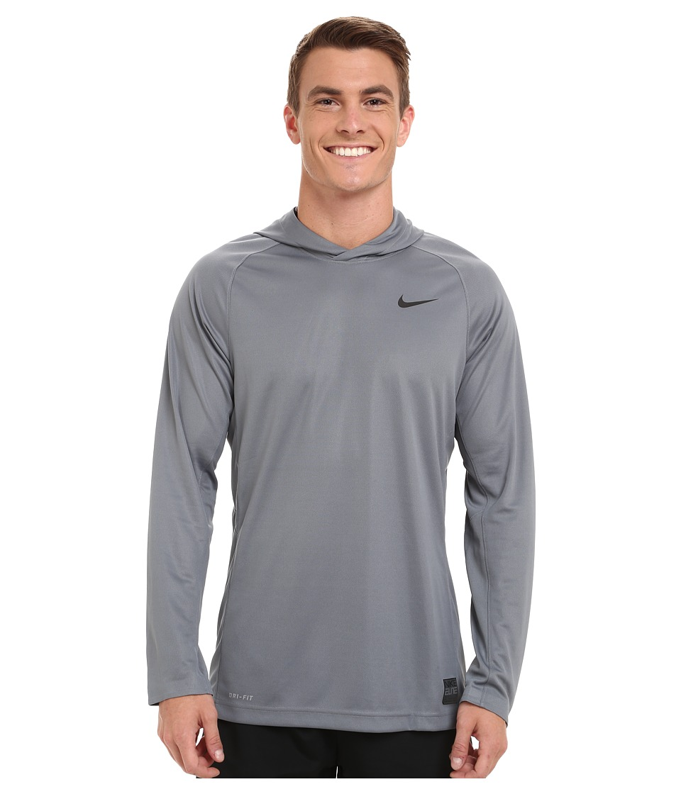 Nike - Elite Hooded Shooter Shirt (Cool Grey/Cool Grey/Black/Black) Men's Workout